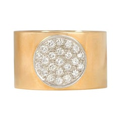 Dinh Van Wide Gold Band with Pavé Diamond Center