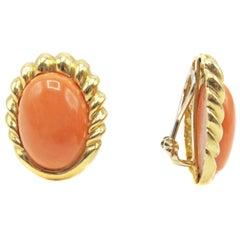 Chic Mediterranean Coral Gold Ear Clips