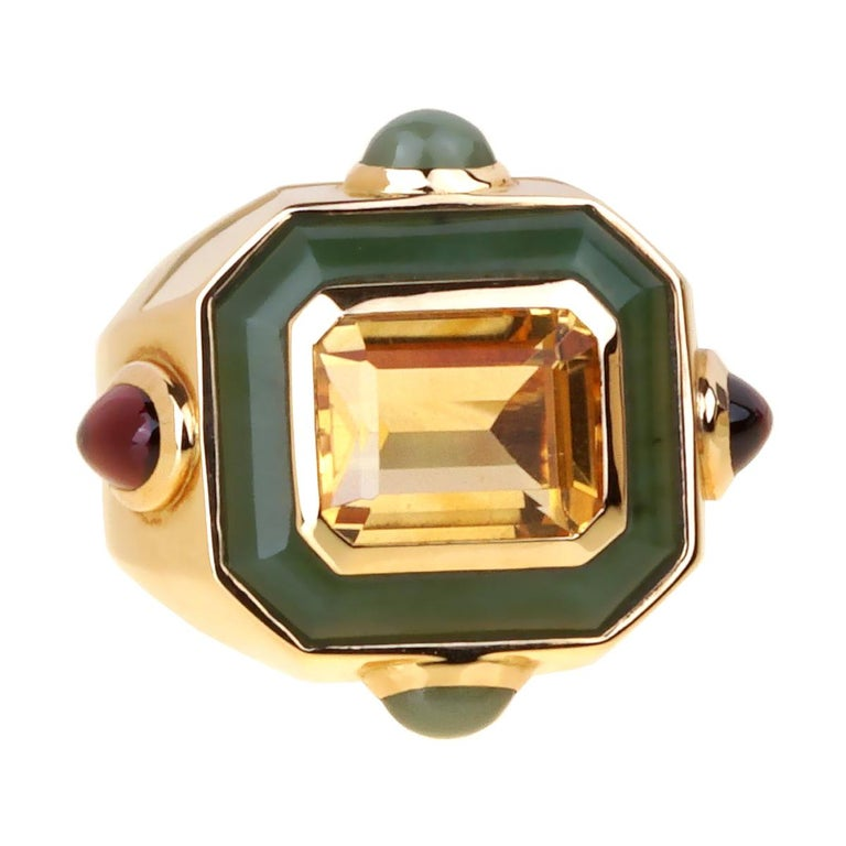 Chanel Paris Citrine Jade Gold Cocktail Ring For Sale