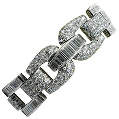 1950s Diamond Platinum Panel Bracelet