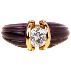 Christian Dior Carved Amethyst Diamond Solitaire Ring