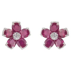 Burmese Ruby Flower Stud Earrings 8.71 Carat