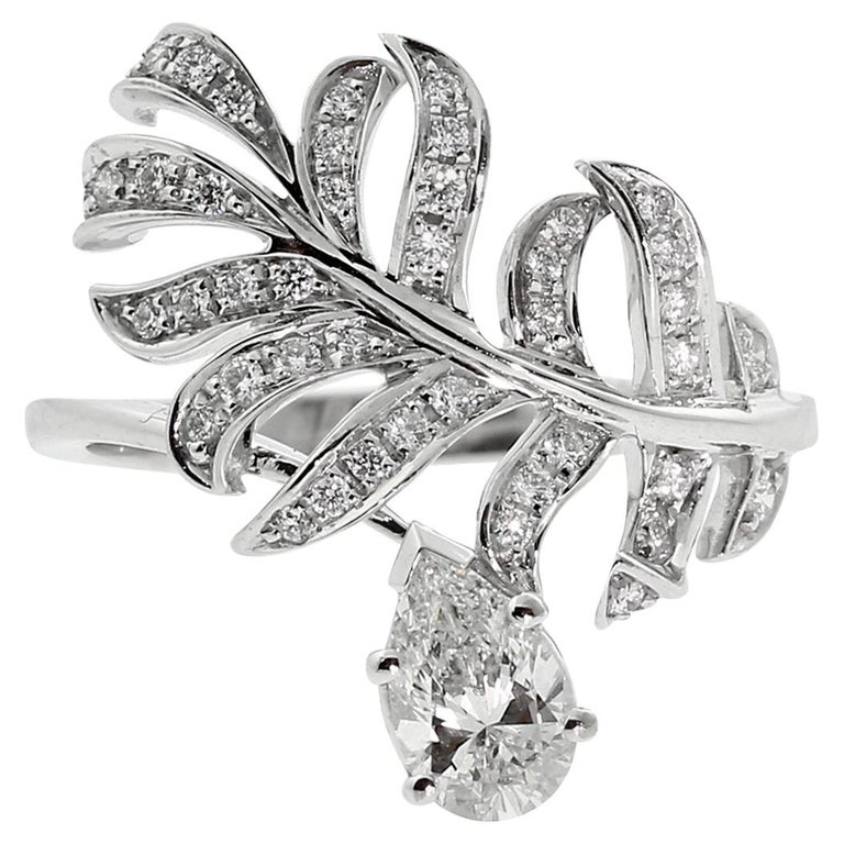 Chanel Plume Diamond Gold Cocktail Ring For Sale