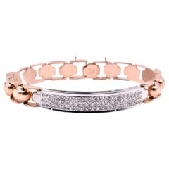 14 Karat Rose Gold Diamond ID Bracelet
