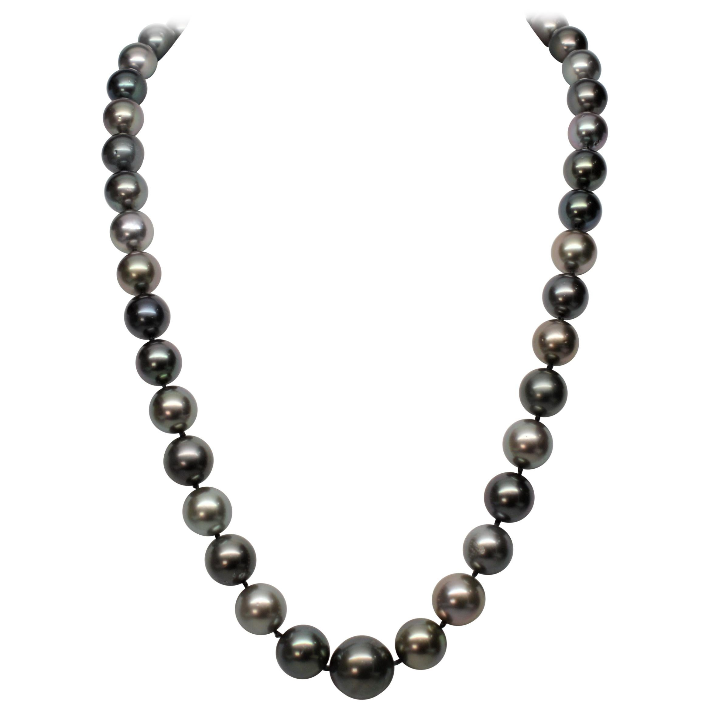 South Sea Tahitian Pearl Necklace with 14 Karat White Gold Clasp