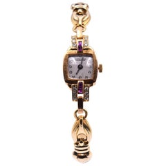 Ulysse Nardin Vintage 14 Karat Yellow Gold Diamond and Ruby Watch