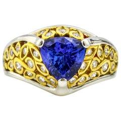 Richard Krementz Platinum 22 Karat Yellow Gold Trillion Tanzanite Diamond Ring