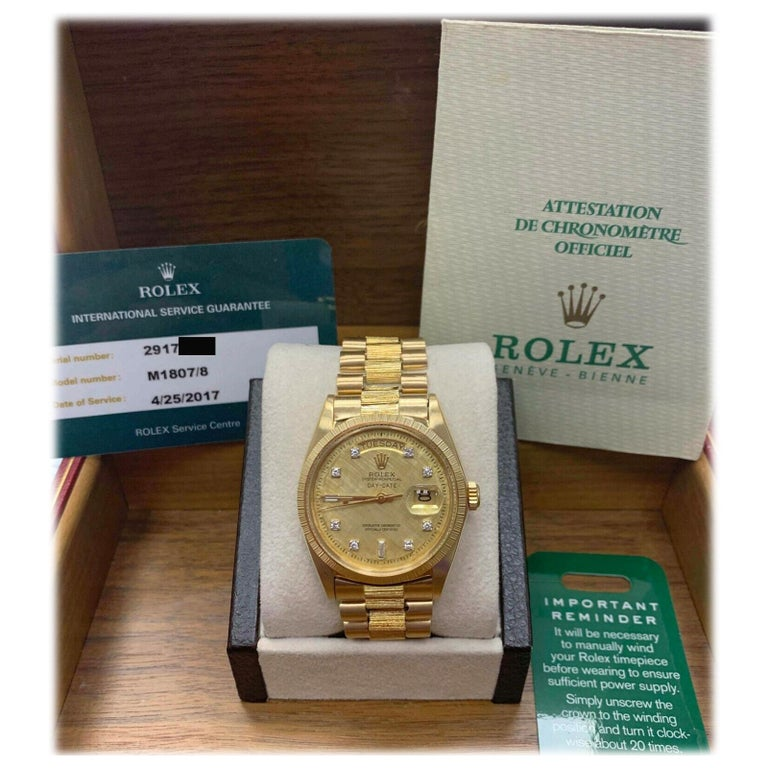 Rolex 1807 President Day Date Original Diamond Dial 18 Karat Yellow Gold For Sale