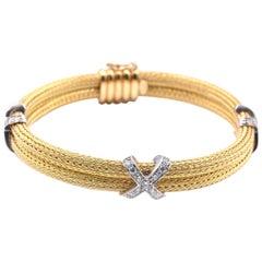 18 Karat Yellow Gold X Bangle Bracelet
