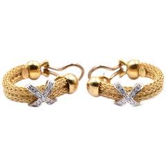 18 Karat Yellow Gold X Huggie Earrings