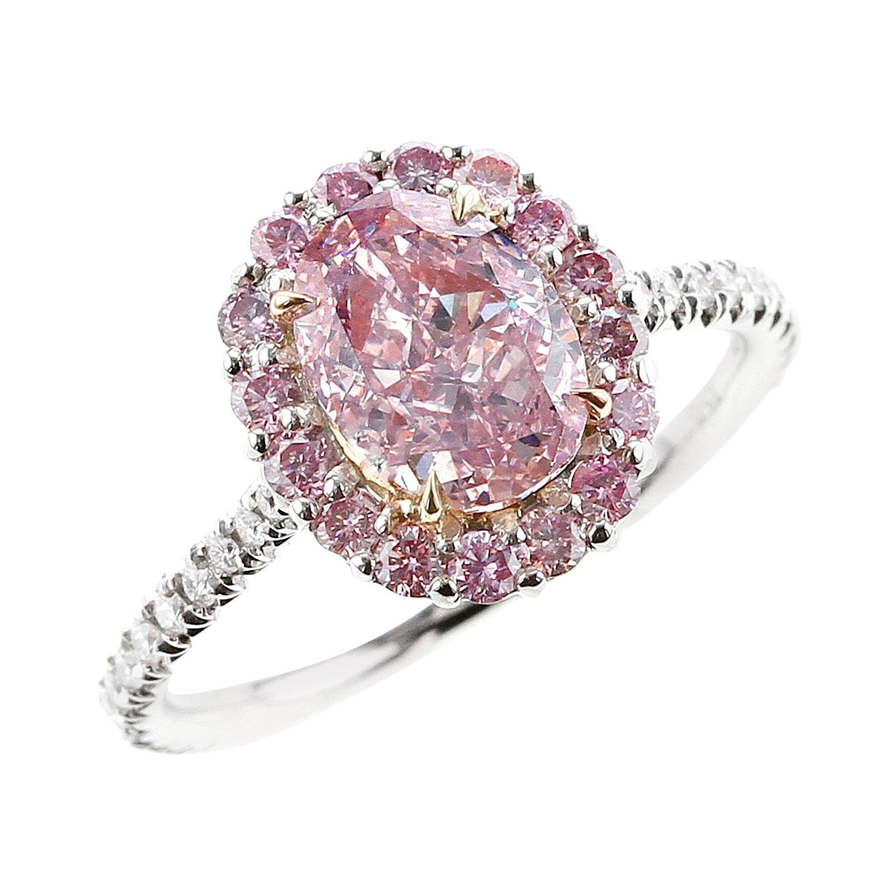 GIA Certified Natural 1 Carat Fancy Purplish Pink Diamond Halo Platinum Ring