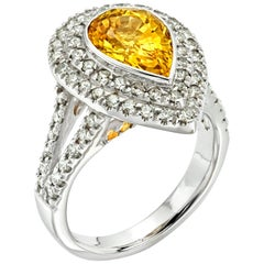 3 Carat Yellow Sapphire with 0.72 Carat Diamond Double Halo