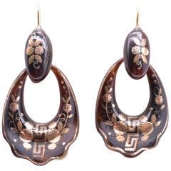 Pique Greek Key Hoop Earrings, circa 1870