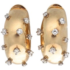 Retro Diamond Gold Hoop Earrings