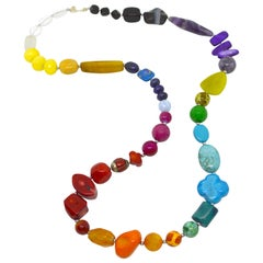 Decadent Jewels Rainbow Lapis Coral Jade Amethyst Agate Onyx Turquoise Necklace