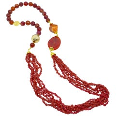 Decadent Jewels Red Coral Agate Gold Necklace