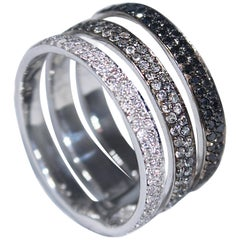 Gold Triple-Band Ring with White, Grey and Black Diamonds