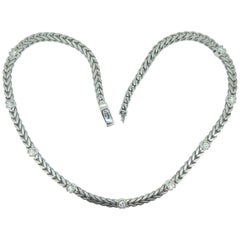 2.25 Carat Diamond Collar Necklace, White Gold Franco Link Chain, Pre-Owned