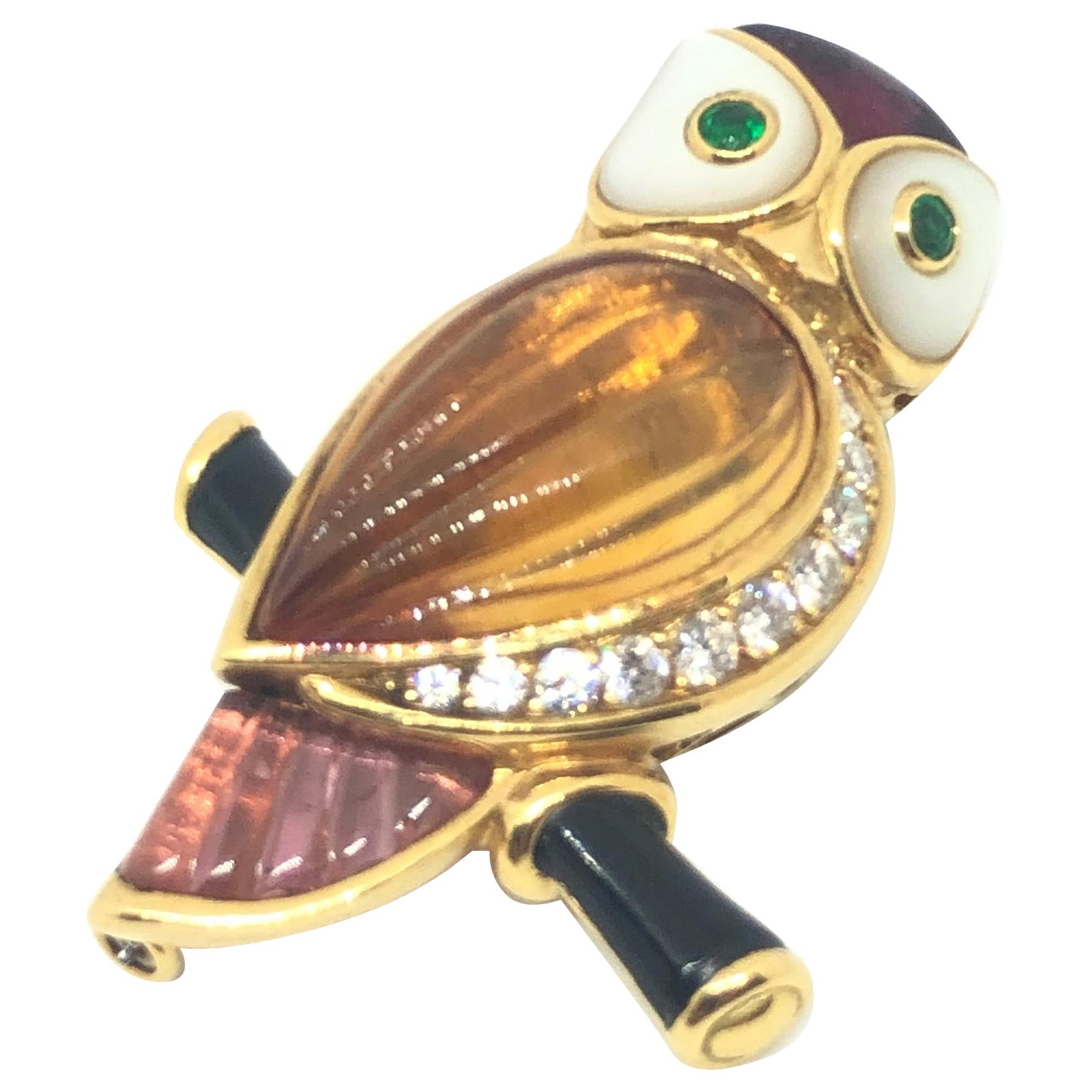 Van Cleef & Arpels Gemstone Diamond Yellow Gold Owl Pin Brooch