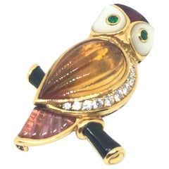 Van Cleef & Arpels Gemstone Diamond Yellow Gold Owl Pin Brooch