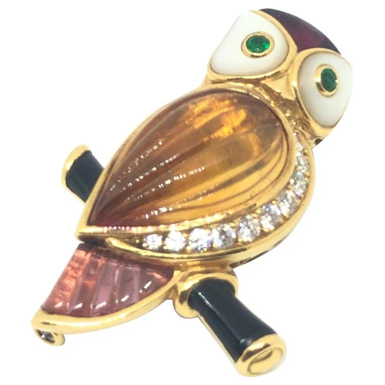 Van Cleef & Arpels Gemstone Diamond Yellow Gold Owl Pin Brooch For Sale