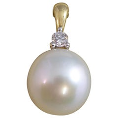South Sea Pearl and Diamond Pendant Necklace Enhancer, Yellow Gold, Pre-Owned