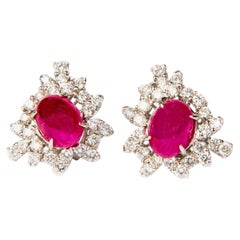 Ruby and Diamond White Gold Cluster Halo Earrings