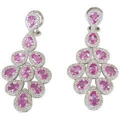Pink Sapphire and Diamond Dangle Earrings