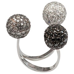 Gold Triple Sphere Ring with Pavé White, Grey and Black Diamonds