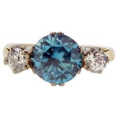 Vintage 1.87 Karat Blue Zircon Diamond Three-Stone Ring