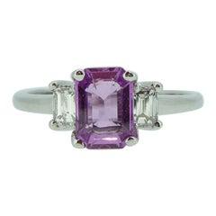 0.87 Carat Pink Sapphire Diamond Ring, Three-Stone, White Gold