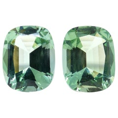 1 Pair of 2 Magnificent Mintgreen Tourmalines Cut with Large Facettes