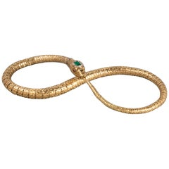 French Georgian Gold Emerald and Diamonds Snake Necklace