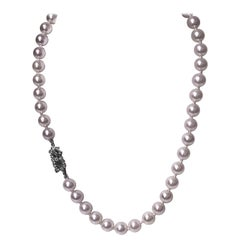 Cultured Pearl Necklace Platinum Diamond Clasp