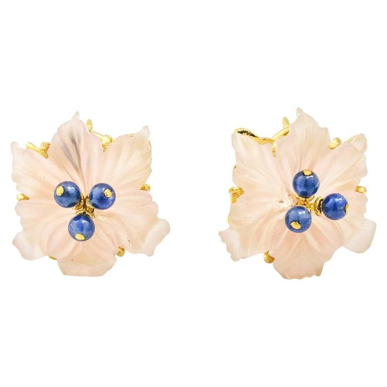 Buccellati 18 Karat Yellow Gold Carved Rose Quartz Sapphire Flower Stud Earrings For Sale