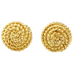 Tiffany & Co. 18 Karat Yellow Gold Round Stud Earrings