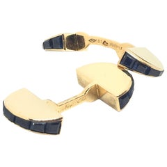 1950s Cartier Paris France Sapphire Gold Cufflinks