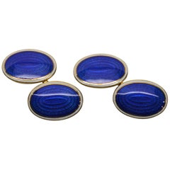 Antique 14K Yellow Gold with Blue and White Cloisonne Enamel Cuff Links