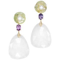 Joon Han Prehnite Pearl Spinel White Agate Diamond 18K Gold Drop Dangle Earrings