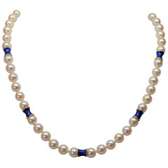 Akoya Pearl Necklace w 14K Yellow Gold & Blue Enamel Rondells w Mystery Clap