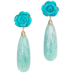 Joon Han Carved Turquoise Flowers Amazonite Diamond 18K Gold Dangle Earrings