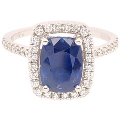 Jye's White Gold Cushion Cut Sapphire Diamond Ring