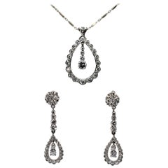 14K White Gold Fine Diamond Necklace & Earring Suite