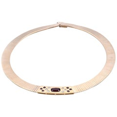 14 Karat Yellow Gold Ruby and Diamond Omega Necklace