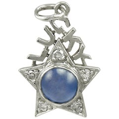 Antique Sapphire Diamond Platinum Lucky Star Charm