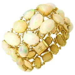 Moliva 117.05 Carat 14 Karat Yellow Gold Opal Diamond Wide Link Bracelet