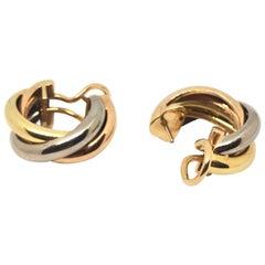 Cartier Trinity 18 Karat Gold Hoop Earrings