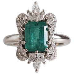8x6MM Emerald Diamond Engagement White Gold Ring