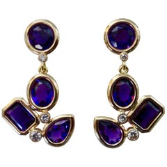 Michael Kneebone Amethyst White Diamond Confetti Dangle Earrings
