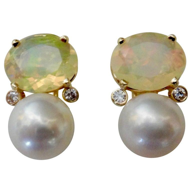 Michael Kneebone Ethiopian Opal White Diamond Cultured Pearl Earrings For Sale